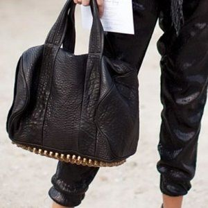 ALEXANDER WANG Black Rocco Bag with Gold Hardware